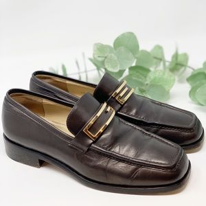 Vintage GUCCI Gold G Soft Leather Loafers